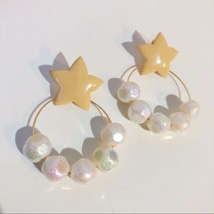 3/$15 SALE Star hoop earrings iridescent beads